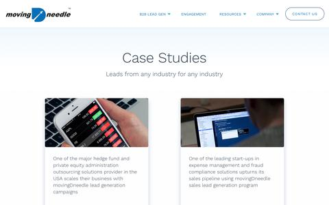 Screenshot of Case Studies Page movingdneedle.com - movingDneedle | B2B Sales Lead Generation - captured Dec. 16, 2018
