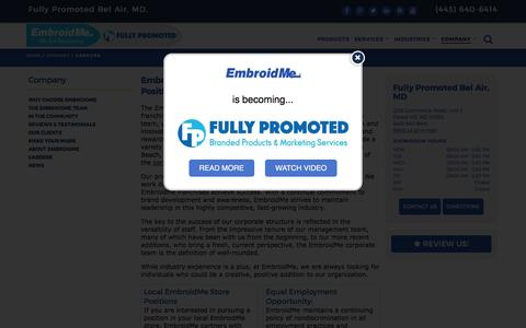Screenshot of Jobs Page embroidme.com - Custom uniforms, Logo t shirt,Careers, Job Opportunities | EmbroidMe of Bel Air, MD - captured May 1, 2017