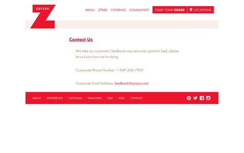 Screenshot of Contact Page zpizza.com - zpizza – Contact & Customer Feedback - captured Aug. 23, 2016