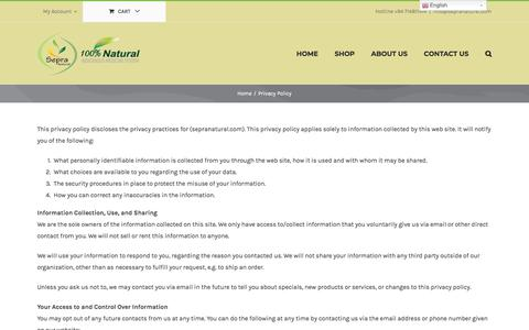 Screenshot of Privacy Page sepranatural.com - Privacy Policy | Sepra Natural Products - captured Sept. 21, 2018