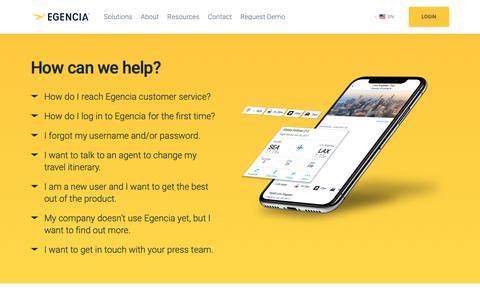Screenshot of Support Page egencia.com - How to contact Egencia support & customer service - Egencia - captured Dec. 12, 2018
