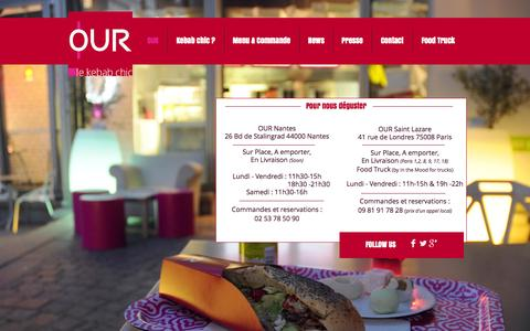 Screenshot of Home Page ourkebab.com - OUR le kebab chic - captured Oct. 6, 2014