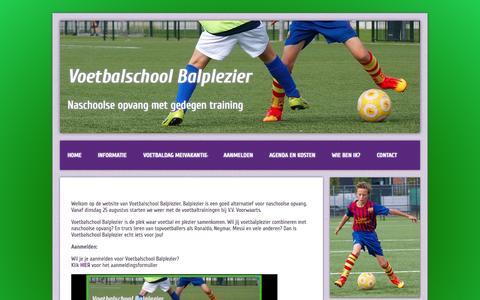 Screenshot of Home Page balplezier.nl - Voetbalschool Balplezier | Naschoolse opvang met gedegen training - captured Sept. 6, 2015