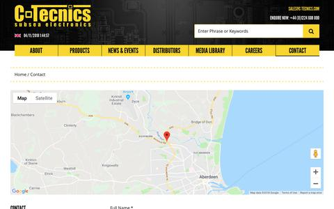 Screenshot of Contact Page c-tecnics.com - Contact – C-Tecnics – Subsea Electronics - captured Nov. 4, 2018