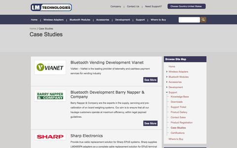 Screenshot of Case Studies Page lm-technologies.com - Bluetooth Development Case StudiesLM Technologies - captured Sept. 16, 2014