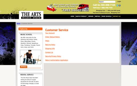 Screenshot of Support Page theartsmusicstore.com - Customer Service - captured Oct. 7, 2014