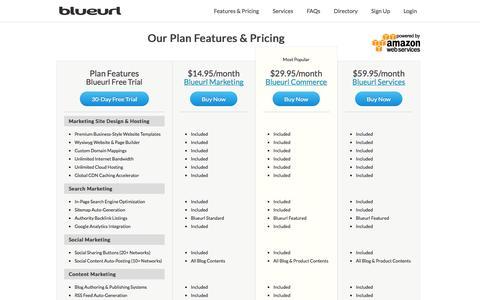Screenshot of Pricing Page blueurl.com - Plan Feature & Pricing Comparison | Blueurl - captured Nov. 4, 2014