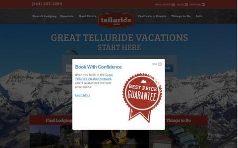 Screenshot of Home Page telluride.com - Telluride, Colorado Lodging & Local Information | Telluride.com - captured Oct. 15, 2015