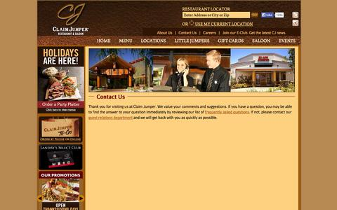 Screenshot of Contact Page claimjumper.com - Claim Jumper Restaurants - captured Nov. 4, 2014