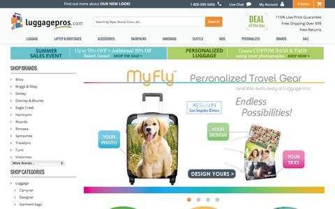 Screenshot of Home Page luggagepros.com - Luggage, Suitcases, Bags & Travel Accessories | Luggage Pros - captured Sept. 24, 2014