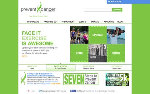 Screenshot of Home Page preventcancer.org - Prevent Cancer Foundation - Stop Cancer Before It Starts! - captured Sept. 19, 2014