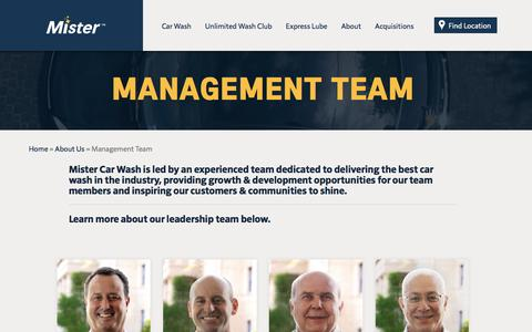 Screenshot of Team Page mistercarwash.com - Management Team – Mister - captured Aug. 12, 2016