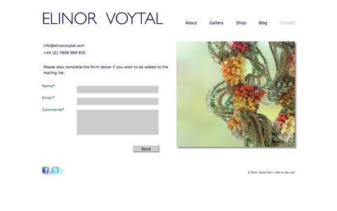 Screenshot of Contact Page elinorvoytal.com - Contact - captured Sept. 29, 2014