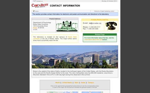Screenshot of Contact Page Maps & Directions Page circadian.org - Contact Information - captured Oct. 22, 2018