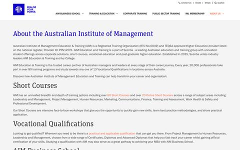 Screenshot of About Page aim.com.au - About the Australian Institute of Management | AIM Education & Training - captured Sept. 5, 2017