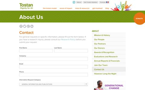 Screenshot of Contact Page tostan.org - Contact | Tostan - captured Oct. 7, 2014