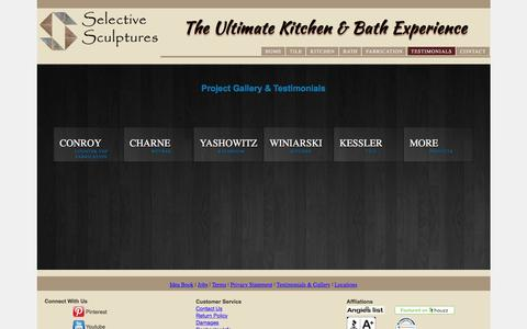 Screenshot of Testimonials Page selectivesculptures.com - The Ultimate Kitchen & Bath Experience - captured May 26, 2017