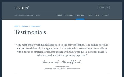 Screenshot of Testimonials Page lindenllc.com - Testimonials | Linden Capital Partners - captured Dec. 8, 2018