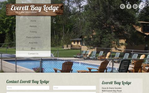 Screenshot of Contact Page everettbaylodge.com - Contact Us - Everett Bay Lodge - captured Jan. 31, 2016