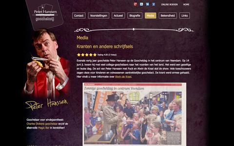 Screenshot of Press Page peterhanssen.nl - Media - Goochelaar Peter Hanssen - captured Jan. 27, 2016