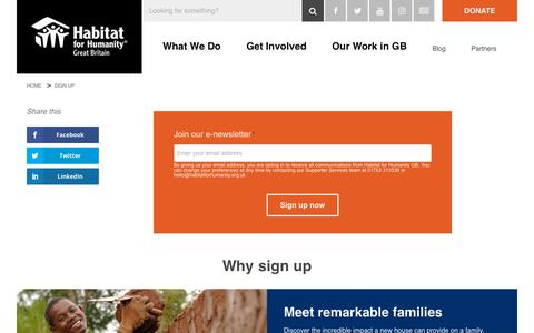 Screenshot of Signup Page habitatforhumanity.org.uk - Sign Up & Support our Charity's Work on Global Poverty: Join Our E-Newsletter - captured Dec. 13, 2018
