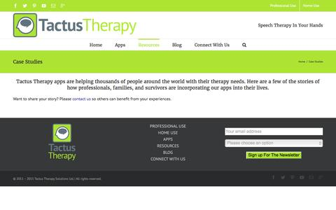 Screenshot of Case Studies Page tactustherapy.com - Case Studies - Tactus Therapy Solutions - captured Feb. 13, 2016