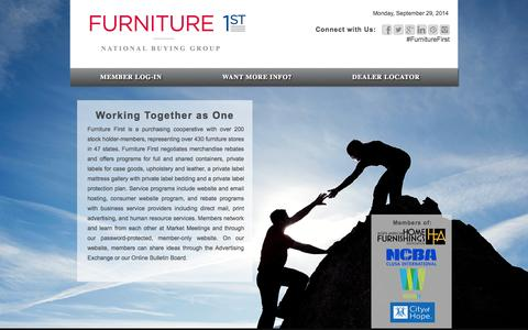 Screenshot of Home Page furniturefirst.coop - Furniture First | National Retail Furniture Buying Group in the U.S. - captured Sept. 30, 2014