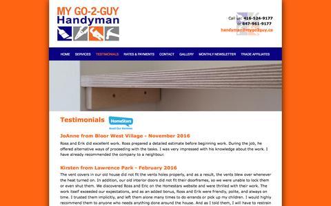 Screenshot of Testimonials Page mygo2guy.ca - Testimonials - My Go-2-Guy Handyman Services - captured Nov. 30, 2016