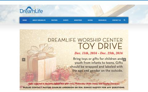 Screenshot of Home Page dreamlifewc.com - DreamLife Worship Center - captured Dec. 26, 2016