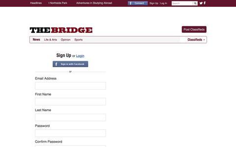 Screenshot of Signup Page thebridgenewspaper.com - thebridgenewspaper | Sign Up - captured June 3, 2016
