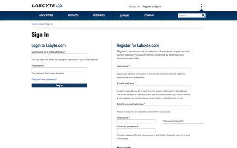 Screenshot of Login Page labcyte.com - Login or Register | Labcyte - captured June 16, 2015
