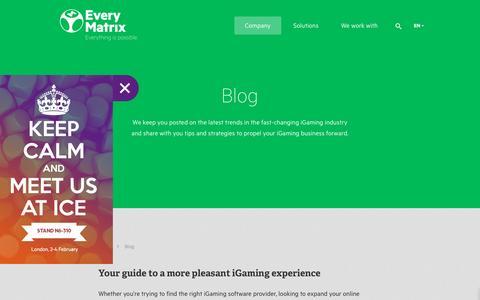 Screenshot of Blog everymatrix.com - Blog - EveryMatrix - captured Jan. 19, 2016