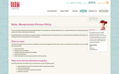 Screenshot of Privacy Page callruby.com - Ruby® Receptionists Privacy Policy - captured April 7, 2016