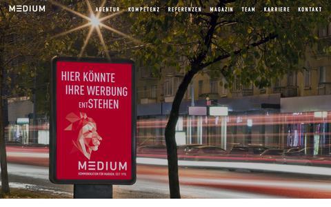 Screenshot of Home Page medium.ag - Werbeagentur Markenkommunikation Corporate Publishing Bielefeld - MEDIUM Werbeagentur - captured June 17, 2015