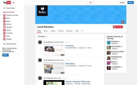Screenshot of YouTube Page youtube.com - Lionel Blondeau  - YouTube - captured Oct. 29, 2014