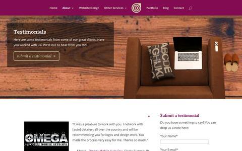 Screenshot of Testimonials Page bullzeyedesign.com - Testimonials - Bullzeye Design - captured Jan. 7, 2016