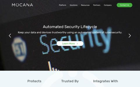Screenshot of Home Page mocana.com - Mocana | Comprehensive IoT Cybersecurity System - captured July 12, 2018