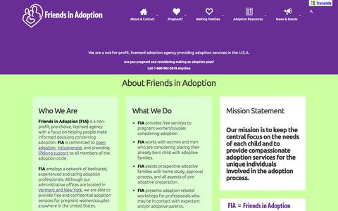 Screenshot of About Page friendsinadoption.org - About Us • Friends in Adoption - captured June 6, 2017
