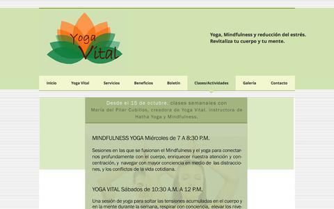 Screenshot of Home Page yogavital.co - Yoga, Mindfulness, relajación, reducción del estrés para empresas. - captured Sept. 30, 2014