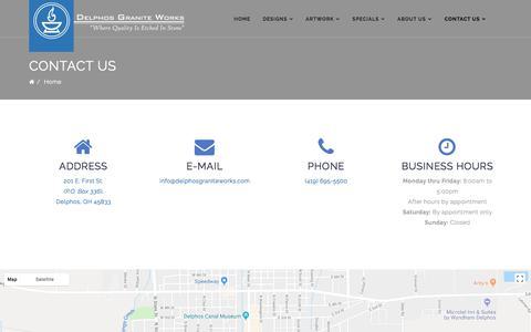 Screenshot of Contact Page delphosgraniteworks.com - Delphos Granite Works - Contact Us - captured Aug. 6, 2018