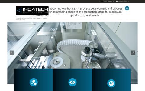 Screenshot of Home Page indatech.eu - Indatech Beyond Spectroscopy Optical Solutions for Process Development Process Control Upstream Downstream - Indatech - captured Oct. 14, 2017