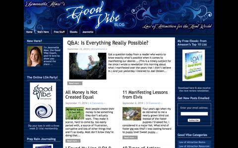 Screenshot of Home Page goodvibeblog.com - Manifesting with the Law of Attraction at Jeannette Maw's Good Vibe Blog - captured Sept. 18, 2014