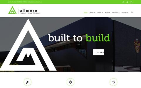 Screenshot of Home Page allmore.com.au - allmore  constructions | commercial builders - captured June 18, 2015
