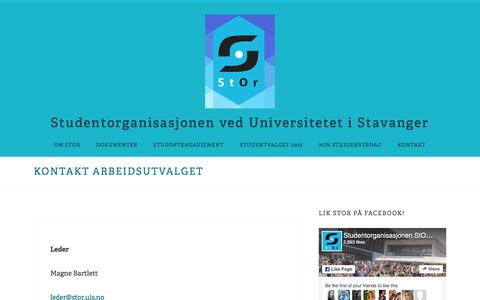 Screenshot of About Page wordpress.com - Kontakt Arbeidsutvalget – Studentorganisasjonen ved Universitetet i Stavanger - captured Dec. 15, 2016