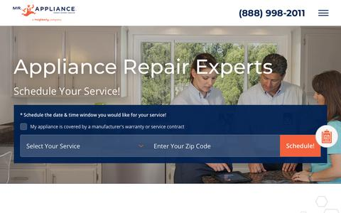 Screenshot of Home Page mrappliance.com - Appliance Repair Service from the Experts | Mr. Appliance - captured Dec. 12, 2018