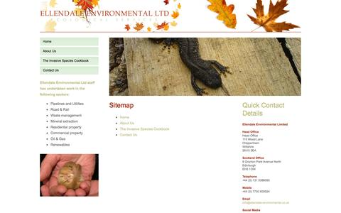 Screenshot of Site Map Page ellendale-environmental.co.uk - Ellendale Environmental | Environmental Consultancy Servicing The UK and Europe - captured Oct. 2, 2014