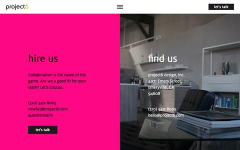 Screenshot of Contact Page project6.com - Contact | Award-winning Graphic Design Firm in San Francisco Bay Area | Project6 Design - captured Sept. 22, 2018