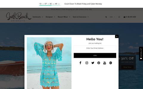 Screenshot of Home Page southbeachswimsuits.com - Sexy Bikinis, Beautiful Designer Swimsuits, Swimwear and Resort Wear - captured Nov. 12, 2018