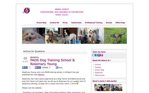 Screenshot of FAQ Page groomdog.co.uk - Questions | GroomDog - West Dorset based Dog Groomer of Distinction - captured Oct. 10, 2014