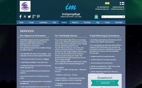 Screenshot of Services Page intiamatkat.fi - Services - captured June 8, 2017